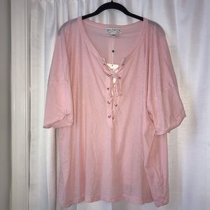 NEW Wildfox Pink Lace Up Top